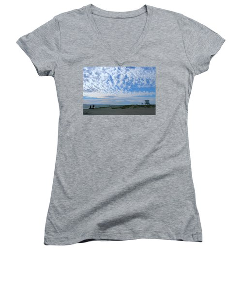 Ventura Beach With Blue Sky And  Puffy Clouds Women's V-Neck (Athletic Fit)