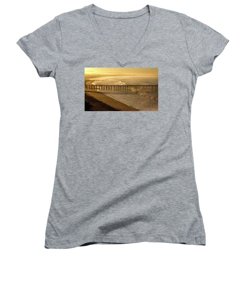 Ventura, Ca Pier At Sunrise Women's V-Neck (Athletic Fit)