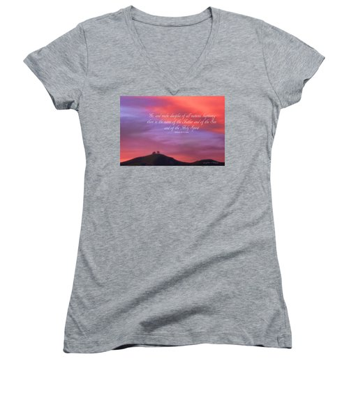 Women's V-Neck T-Shirt (Junior Cut) featuring the photograph Ventura Ca Two Trees At Sunset With Bible Verse by John A Rodriguez