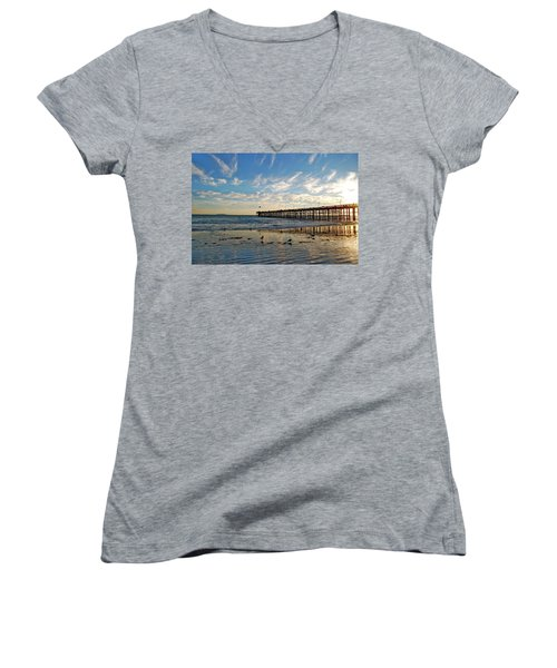 Ventura Pier At Sunset Women's V-Neck T-Shirt