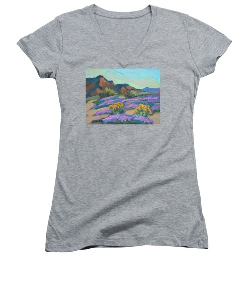 Women's V-Neck T-Shirt (Junior Cut) featuring the painting Verbena And Spring by Diane McClary
