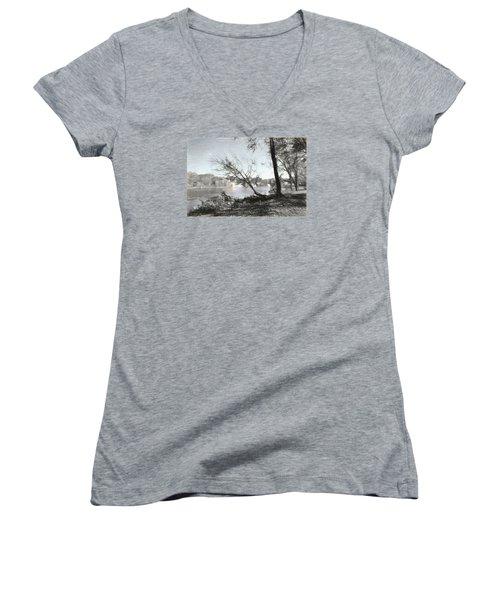 Vergennes Falls Digital Charcoal Women's V-Neck T-Shirt (Junior Cut) by Rena Trepanier