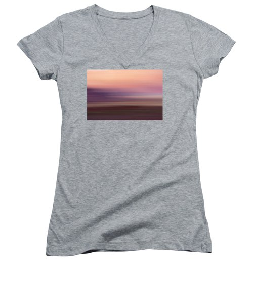 Vermilion Cliff At Dusk Women's V-Neck