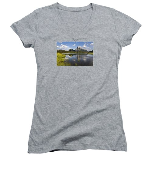 Vermillion Lake And Sulpher Mountain Women's V-Neck