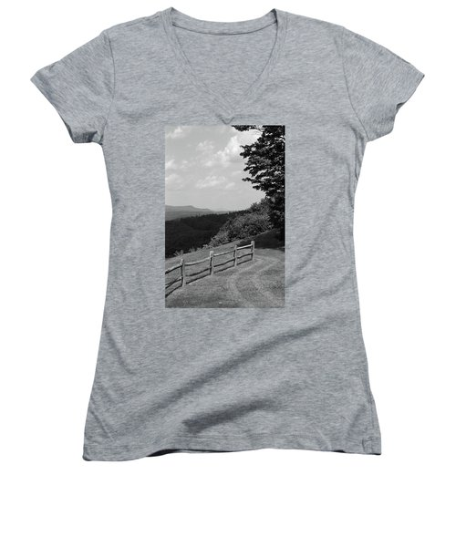 Women's V-Neck T-Shirt (Junior Cut) featuring the photograph Vermont Countryside 2006 Bw by Frank Romeo