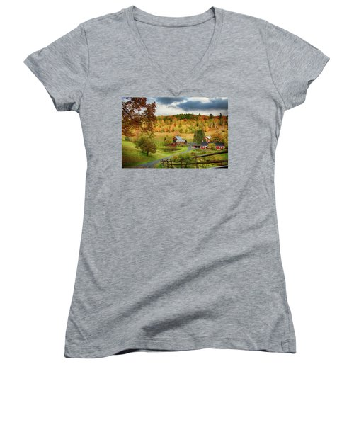 Vermont Sleepy Hollow In Fall Foliage Women's V-Neck