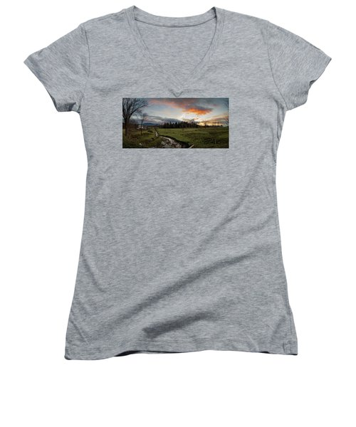 Vermont Sunset Women's V-Neck (Athletic Fit)
