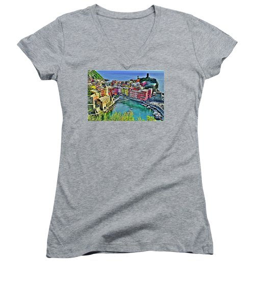 Vernazza Alight Women's V-Neck T-Shirt (Junior Cut) by Frozen in Time Fine Art Photography