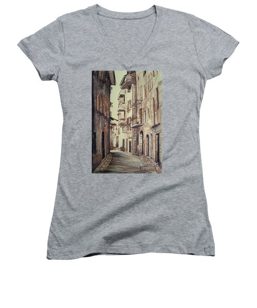 Verona Drawing Of A Narrow Street Women's V-Neck T-Shirt