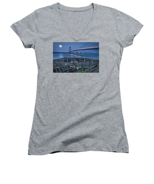 Women's V-Neck T-Shirt (Junior Cut) featuring the photograph Verrazano Narrows Bridge Full Moon by Susan Candelario