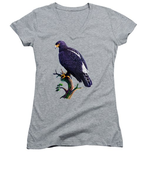 Women's V-Neck T-Shirt (Junior Cut) featuring the painting Verreaux's Eagle  by Anthony Mwangi
