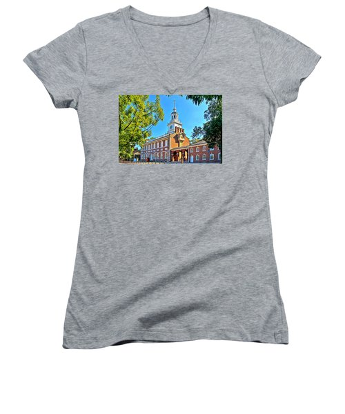 Women's V-Neck T-Shirt (Junior Cut) featuring the photograph Vestige Of American Independence by DJ Florek