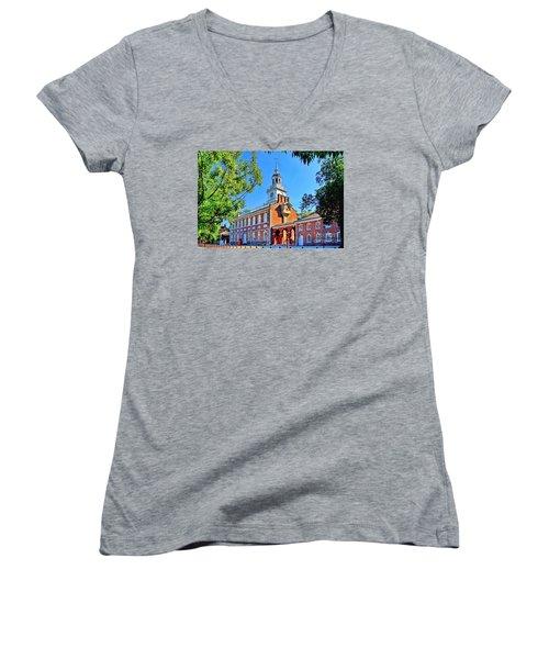 Women's V-Neck T-Shirt (Junior Cut) featuring the digital art Vestige Of Independence Hd by DJ Florek