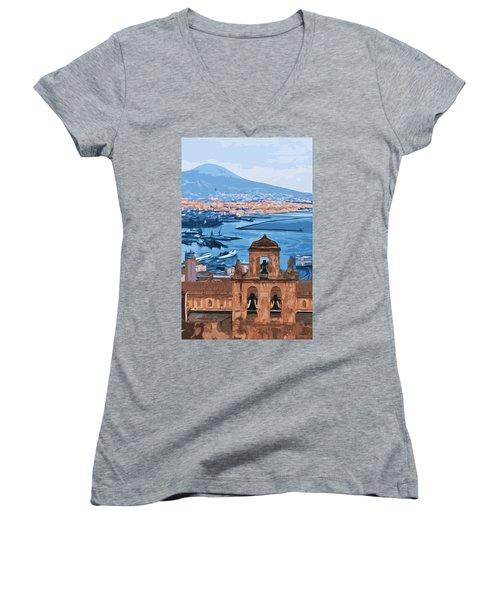 Vesuvio, Panorama From Naples Women's V-Neck