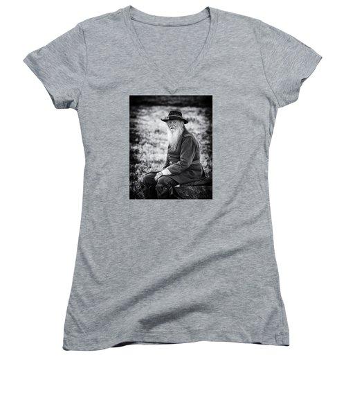 Veteran Soldier Women's V-Neck T-Shirt (Junior Cut) by Alan Raasch