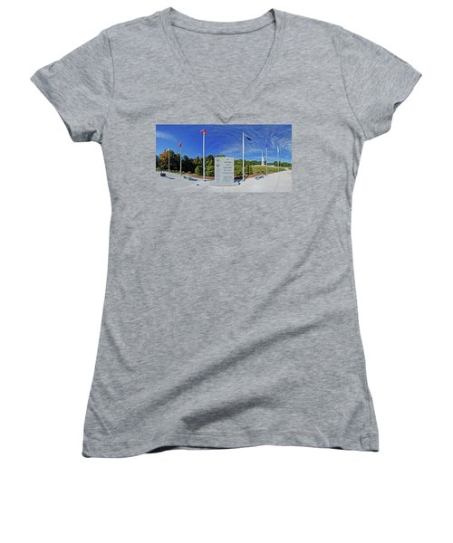 Veterans Freedom Park, Cary Nc. Women's V-Neck T-Shirt (Junior Cut) by George Randy Bass