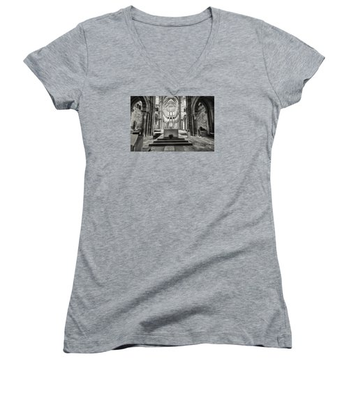 Women's V-Neck T-Shirt (Junior Cut) featuring the photograph Vezelay Basilica France by Jack Torcello