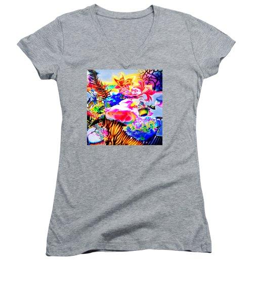 Vibe Vase Women's V-Neck T-Shirt (Junior Cut) by Adria Trail