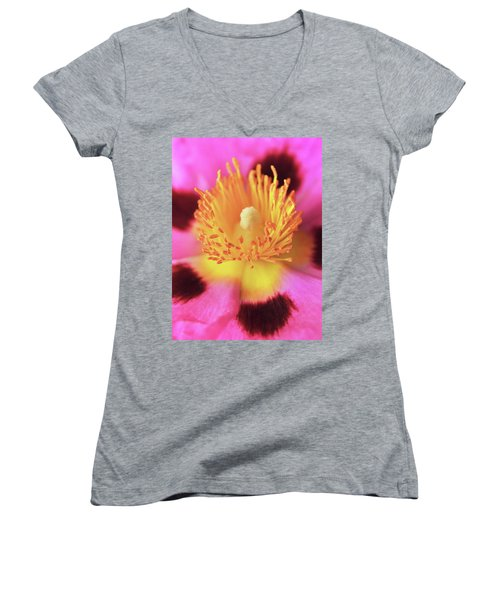 Vibrant Cistus Heart. Women's V-Neck (Athletic Fit)