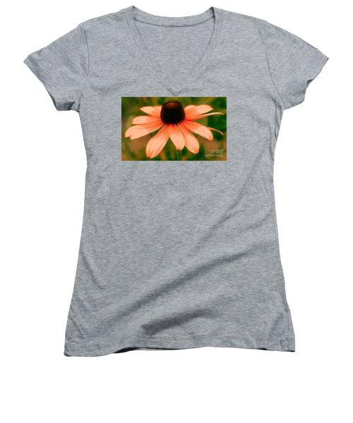 Vibrant Orange Coneflower Women's V-Neck T-Shirt (Junior Cut) by Judy Palkimas