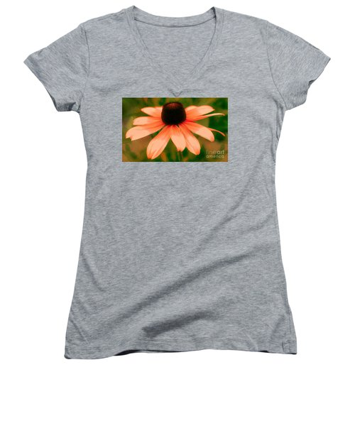 Vibrant Orange Coneflower Women's V-Neck T-Shirt