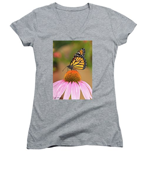 Monarch Butterfly On A Purple Coneflower Women's V-Neck (Athletic Fit)