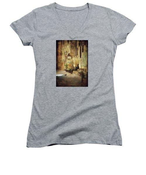Vicolo Chiuso   Closed Alley Women's V-Neck T-Shirt (Junior Cut) by Vittorio Chiampan