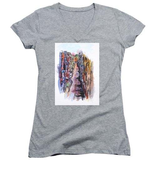 Vicolo De Napoli Women's V-Neck T-Shirt (Junior Cut) by Clyde J Kell