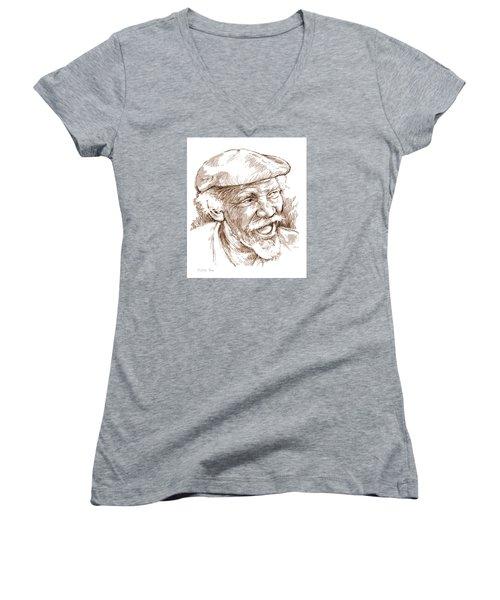 Victor Boa Women's V-Neck T-Shirt (Junior Cut) by Greg Joens