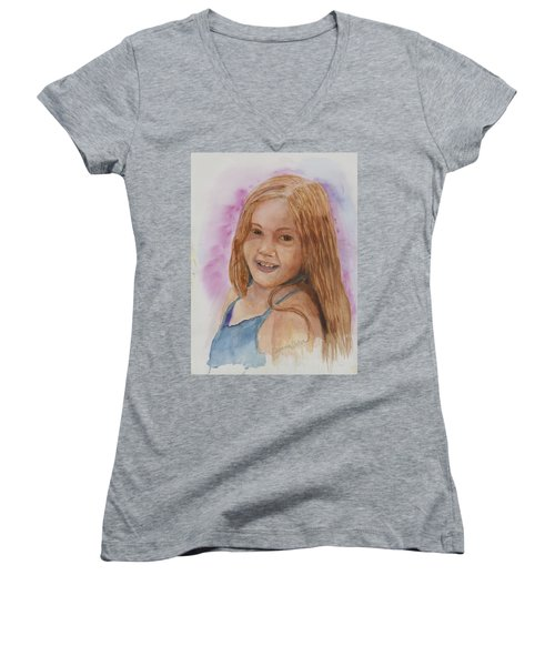 Women's V-Neck T-Shirt (Junior Cut) featuring the painting Victoria by Donna Walsh