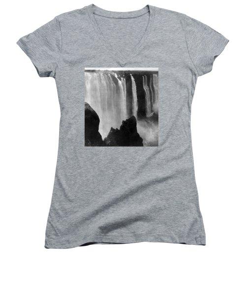 Victoria Falls - C 1911 Women's V-Neck T-Shirt (Junior Cut) by International  Images
