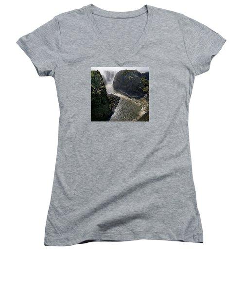 Victoria Falls Women's V-Neck T-Shirt (Junior Cut) by Joe Bonita