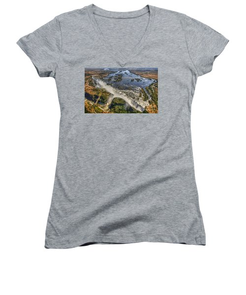 Women's V-Neck T-Shirt (Junior Cut) featuring the photograph Victoria Falls, The Smoke That Thunders by Myrna Bradshaw