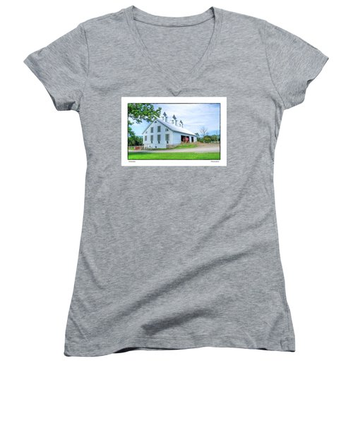 Women's V-Neck T-Shirt (Junior Cut) featuring the photograph Victorian Barn by R Thomas Berner