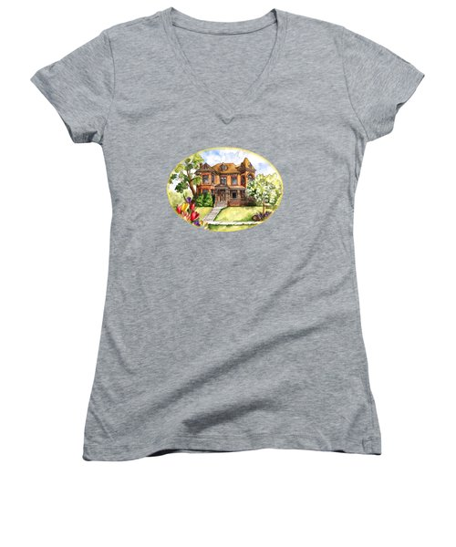 Victorian Mansion In The Spring Women's V-Neck T-Shirt (Junior Cut) by Shelley Wallace Ylst