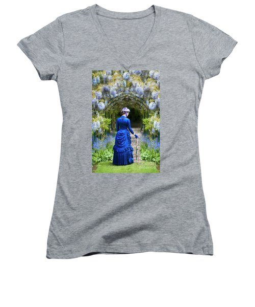 Victorian Woman With Wisteria Women's V-Neck T-Shirt