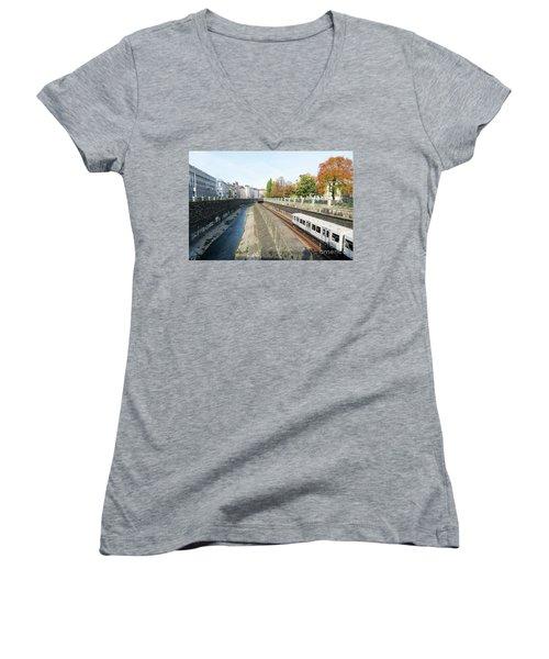 Vienna Canal Women's V-Neck T-Shirt (Junior Cut) by Christian Slanec