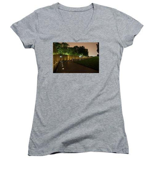 Vietnam Memorial By Night Women's V-Neck T-Shirt