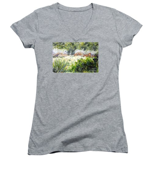 View At Red Rock Women's V-Neck T-Shirt (Junior Cut) by Vicki  Housel