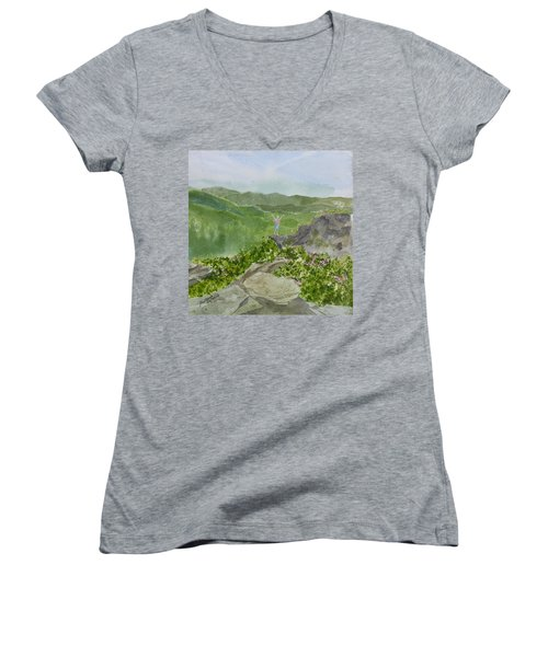 Women's V-Neck T-Shirt featuring the painting View From Craggy Gardens - A Watercolor Sketch  by Joel Deutsch