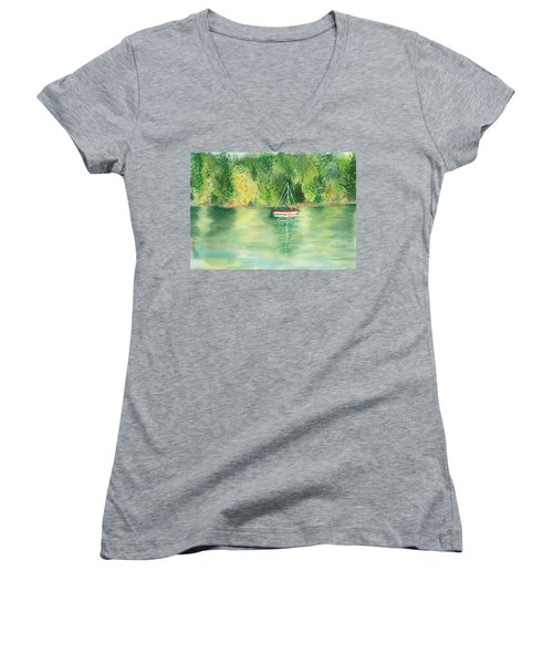 Women's V-Neck T-Shirt (Junior Cut) featuring the painting View From Millbay Ferry by Vicki  Housel