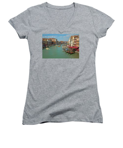 View From Rialto Bridge Women's V-Neck T-Shirt (Junior Cut) by Sharon Jones