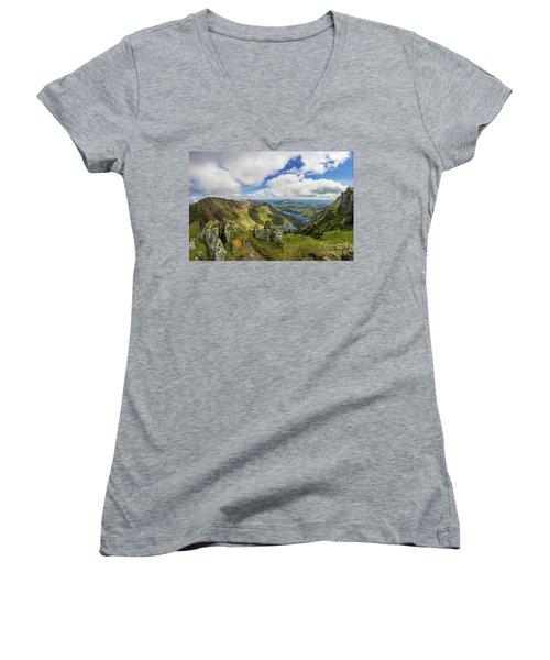 View From Snowdon Summit Women's V-Neck T-Shirt