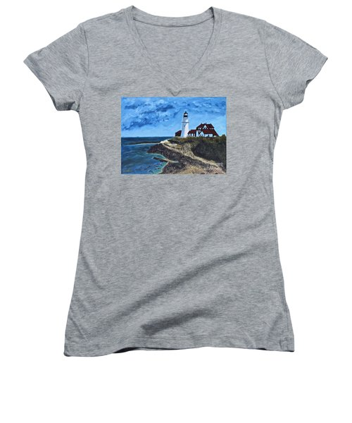 View From The North Portland Head Light Women's V-Neck T-Shirt