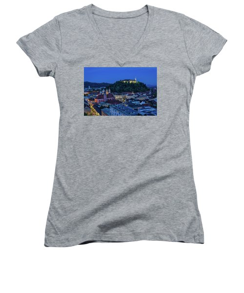 Women's V-Neck T-Shirt featuring the photograph View From The Skyscraper #2 - Slovenia by Stuart Litoff