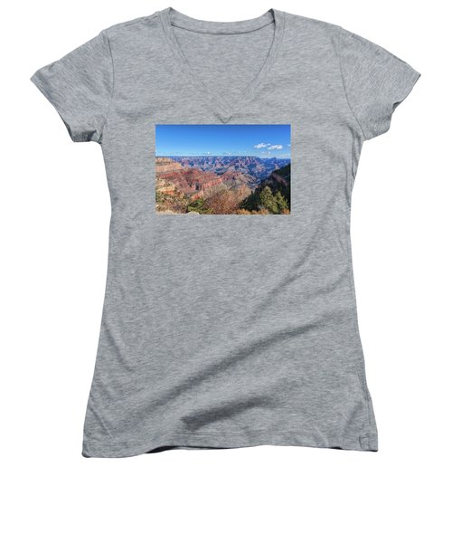 Women's V-Neck T-Shirt (Junior Cut) featuring the photograph View From The South Rim by John M Bailey