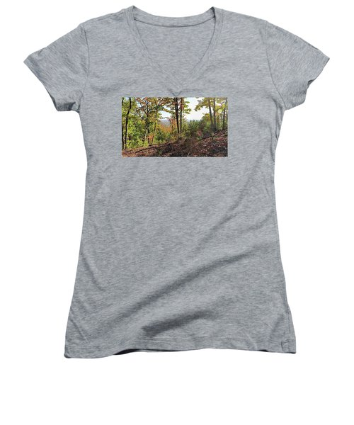 View From The Top Of Brown's Mountain Trail, Kings Mountain Stat Women's V-Neck