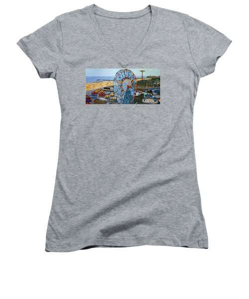 View From The Top Of The Cyclone Rollercoaster Women's V-Neck