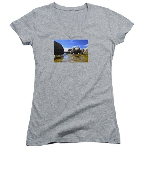 View From The Water Of Lake Tahoe Women's V-Neck T-Shirt (Junior Cut) by Alex King
