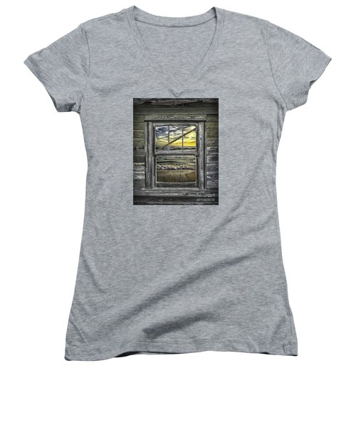 View From Weathered Beach Cottage Women's V-Neck T-Shirt (Junior Cut) by Walt Foegelle